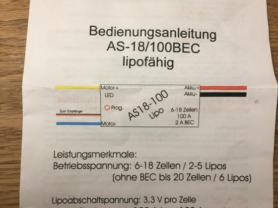 Modellbau Regler AS18-100